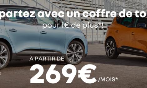 Renault SCENIC et GRAND SCENIC à partir de 269€/mois* et un coffre de toit pour 1€ de plus*!